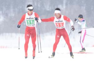 スキー 距離リレー全日本選手権 2走の清水、3連覇