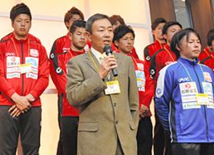 JFL昇格へキックオフ 松江シティ開幕前にファン交流