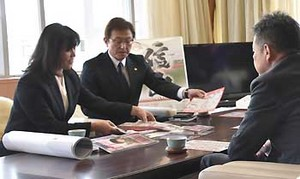 BCリーグ 信濃の社長、上田市長に今季目標語る
