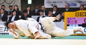 20歳朝比奈が初V、世界選手権代表に 柔道全日本女子