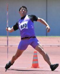 男子やり投げ、美鳥大会新でV 陸上徳島県選手権