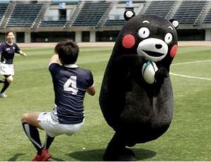 ラグビー くまモン、日本代表入りなるか 熊本開催の国際試合