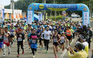 過去最多535人が力走 奥尻ムーンライトマラソン