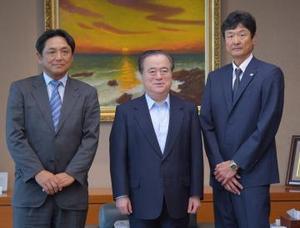 社会人野球 都市対抗出場の新日鉄住金鹿島と日立 茨城県知事訪問