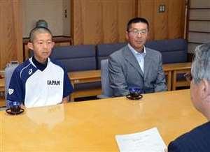 野球 U-12日本代表 戸沢「金メダル取る」 秋田県庁訪問