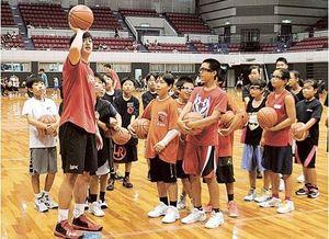 バスケの技術、小学生に指導 B1リーグ三遠選手ら